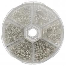 Sortierkasten - Biegeringe (6 verschiedene Größen / 4 bis 10 mm x 0.7 bis 1mm Durchmesser) Altsilber (1600 Stück)