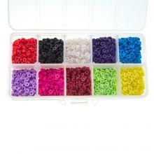 Sortierkasten - Polymer Perlen (4 x 1 mm) Mix Color (350 Stück)