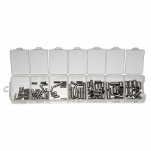 Sortierkasten - Edelstahl Endkappen (1 bis 4 mm) Altsilber (110 Stück)
