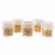Perlenset - Metallperlen Mix (2 / 2.5 / 3/ 4 en 5 mm) Gold (2300 Stück)