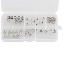 Sortierkasten - Edelstahl Perlen (6 verschiedene Größen) Altsilber