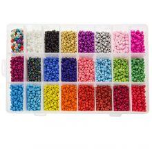 Perlenset XL - Rocailles (4 ~ 5 mm / 24 x 250 Stück) 'Mix Color'