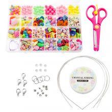Perlenset Kinder - Acrylperlen und Werkzeuge 'Mix Color'