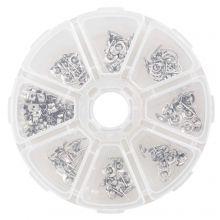 Ohrstecker Set mit Verschlüssen (verschiedene Größen) Altsilber (70 Stück)