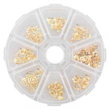 Ohrstecker Set mit Verschlüssen (verschiedene Größen) Gold (70 Stück)