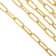 Edelstahl Gliederkette (18 x 7.5 mm) Gold (2.5 Meter)