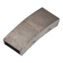 Edelstahl Magnetverschluss Matt (Innenmaß 10 x 3 mm) Altsilber (1 Stück)