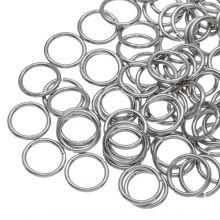 Edelstahl Biegeringe (10 mm / Dicke 1 mm) Altsilber (100 Stück)