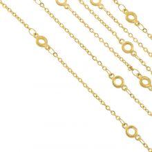 Edelstahl Gliederkette Kreis (9 x 4.5 x 1.4 mm) Gold (2.5 Meter)