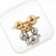 Edelstahl Magnetverschluss Set (3 verschiedenen Grössen) Altsilber / Gold (6 Stück)