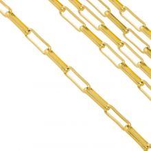 Edelstahl Gliederkette (10 x 3.5 x 1.5 mm) Gold (2.5 Meter)