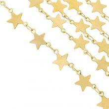 Edelstahl Gliederkette Stern (2 x 1.5 mm) Gold (1 Meter)