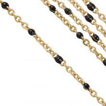 Edelstahl Gliederkette (2 x 1.5 mm) Black / Gold (2,5 Meter)