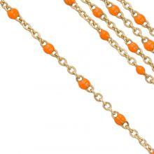 Edelstahl Gliederkette (2 x 1.5 mm) Orange / Gold (2,5 Meter)
