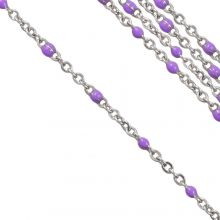 Edelstahl Gliederkette (2 x 1.5 mm) Purple / Altsilber (2,5 Meter)