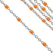 Edelstahl Gliederkette (2 x 1.5 mm) Orange / Altsilber (2,5 Meter)