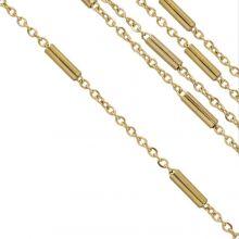 Edelstahl Gliederkette Röhrchen (2 x 1.5 mm) Gold (2,5 Meter)