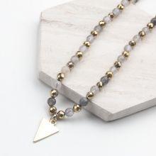 Halskette mit Natürlichen Rauchquarz Perlen (54 cm) Mischfarbe (1 stück)