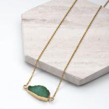Edelstahl Kette mit Druzy Pendant Green (45 cm) Gold (1 Stück)