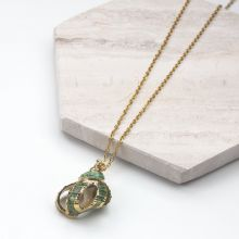 Edelstahl Kette mit Muschel Green (45 cm) Gold (1 Stück)