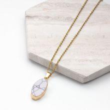 Edelstahl Kette mit Marmor Pendant White (45 cm) Gold (1 Stück)