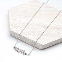 Edelstahl Kette Blatt mit Kristall Strass Steinen (48 cm) Altsilber (1 Stück)