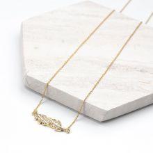 Edelstahl Kette Blatt mit Kristall Strass Steinen (48 cm) Gold (1 Stück)