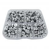 Sortierkasten - Buchstabenperlen Vokale - (8 x 4 mm) Silver (50 Perlen pro Buchstabe)