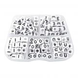 Sortierkasten - Buchstabenperlen Vokale - (6 x 6 mm) White (35 Perlen pro Buchstabe)
