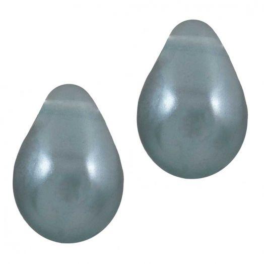 DQ Glaswachsperlen (9 x 6 mm) Stone Blue Grey (20 Stück)
