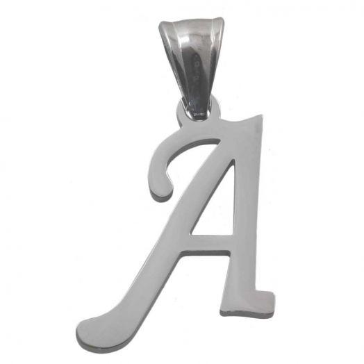 Stainless Steel Buchstabenanhänger A (32 mm) Altsilber (1 Stück)