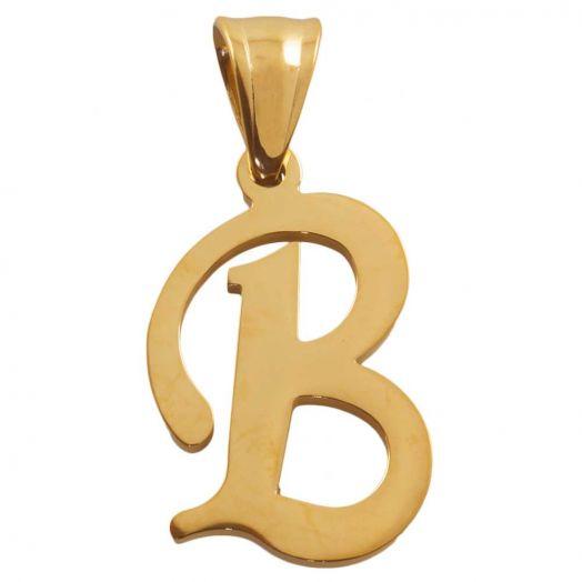 Stainless Steel Buchstabenanhänger B (32 mm) Gold (1 Stück)