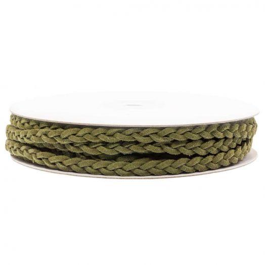 Geflochtenes Kunst Wildlederband (5 mm) Olive Green (10 Meter)
