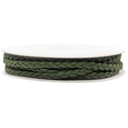 Geflochtenes Kunst Wildlederband (5 mm) Forest Green (10 Meter)