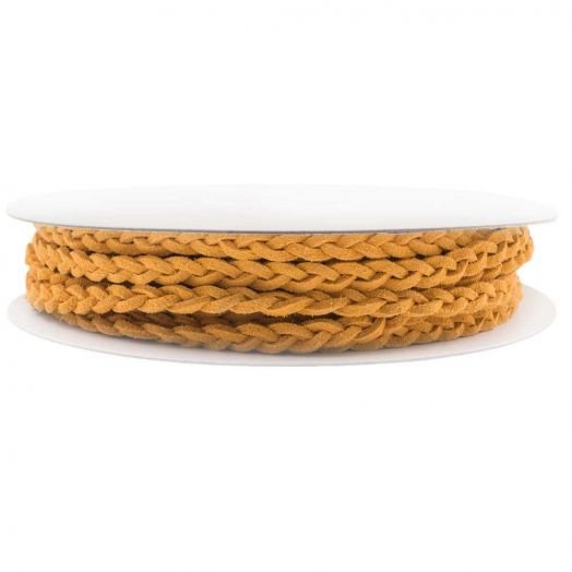 Geflochtenes Kunst Wildlederband (5 mm) Warm Yellow (10 Meter)