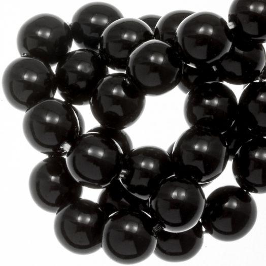 DQ Glaswachsperlen (8 mm) Black Shine (75 Stück)