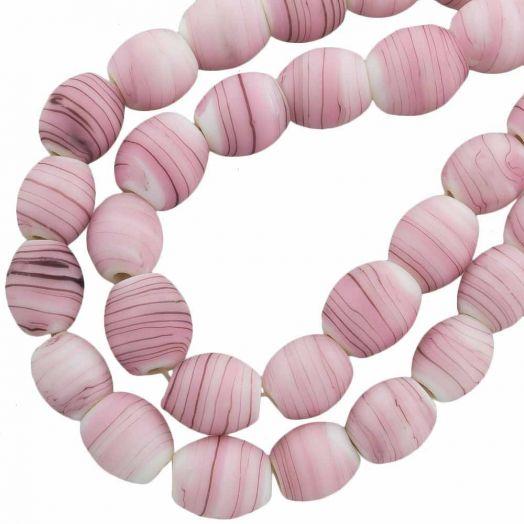 Glasperlen Matt (11 x 9 mm) Pink (17 Stück)