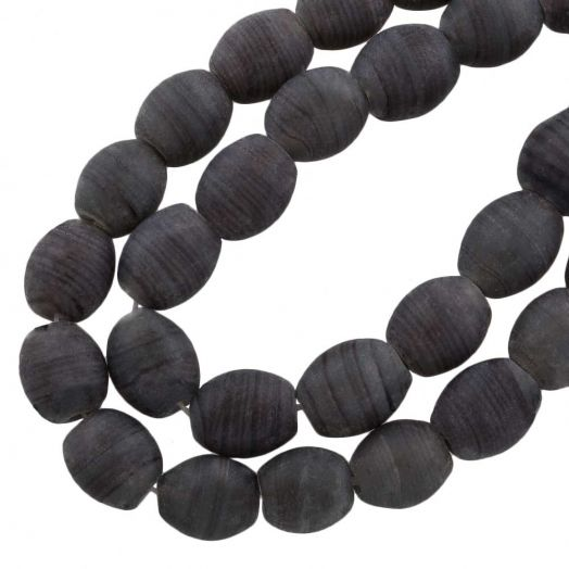 Glasperlen Matt (11 x 9 mm) Dark Grey (17 Stück)