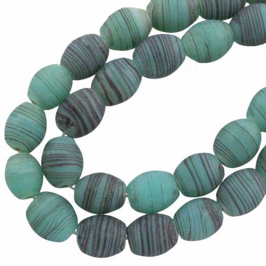 Glasperlen Matt (11 x 9 mm) Sea Green (17 Stück)