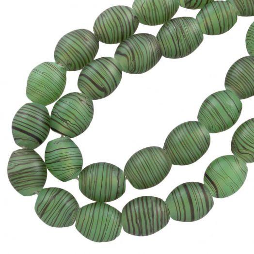 Glasperlen Matt (11 x 9 mm) Green (17 Stück)
