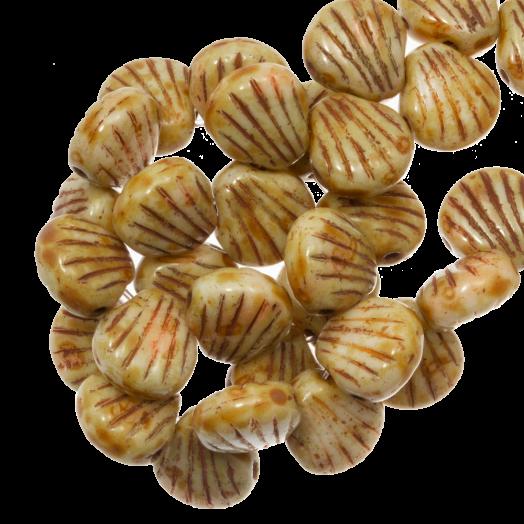 Glasperlen Muschel Zweilochperlen (8 x 8 mm) Retro Brown (25 Stück)