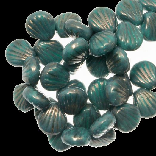 Glasperlen Muschel Zweilochperlen (8 x 8 mm) Teal (25 Stück)