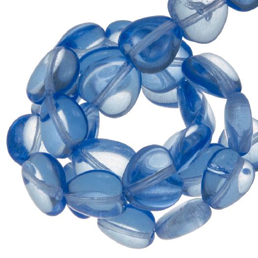 DQ Glasperlen Herz (6 mm) Transparent Blue (50 Stück)