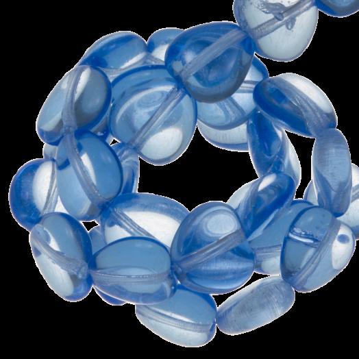 DQ Glasperlen Herz (8 mm) Transparent Blue (50 Stück)