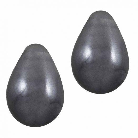 DQ Glaswachsperlen (9 x 6 mm) Dark Grey (20 Stück)