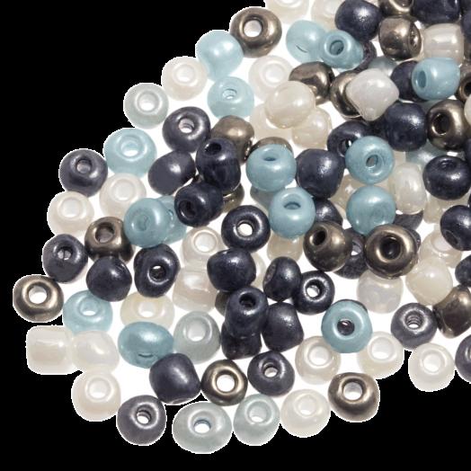 Rocailles (3 mm) Shine Silver Blue Mix (50 Gramm)