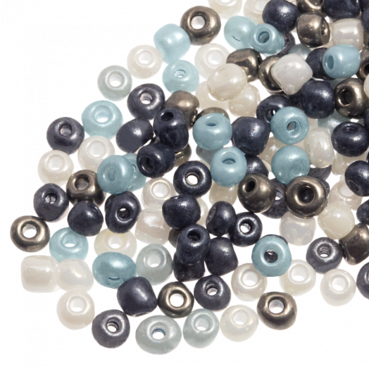 Rocailles (4 mm) Shine Silver Blue Mix (100 Gramm)