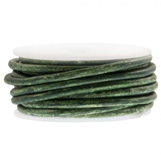 DQ Leder Two Tone (3 mm) Crocodile Green (5 Meter)