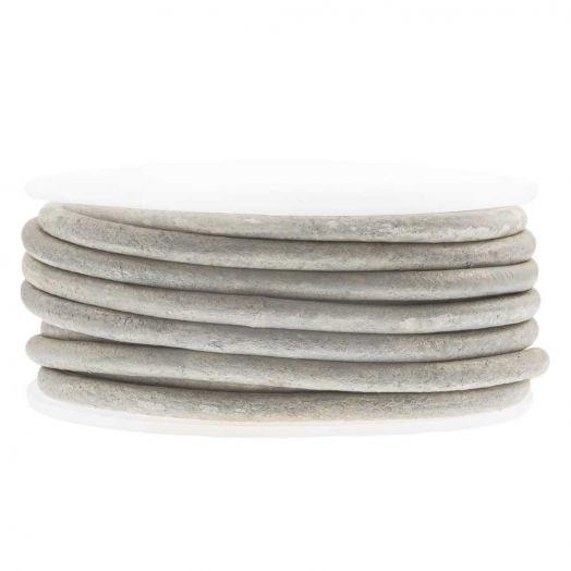 DQ Leder Two Tone (3 mm) Grey White (5 Meter)
