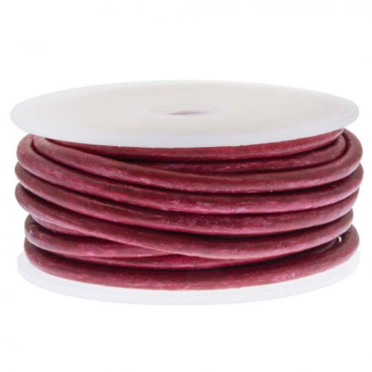 DQ Leder Two Tone (3 mm) Red Wine (5 Meter)